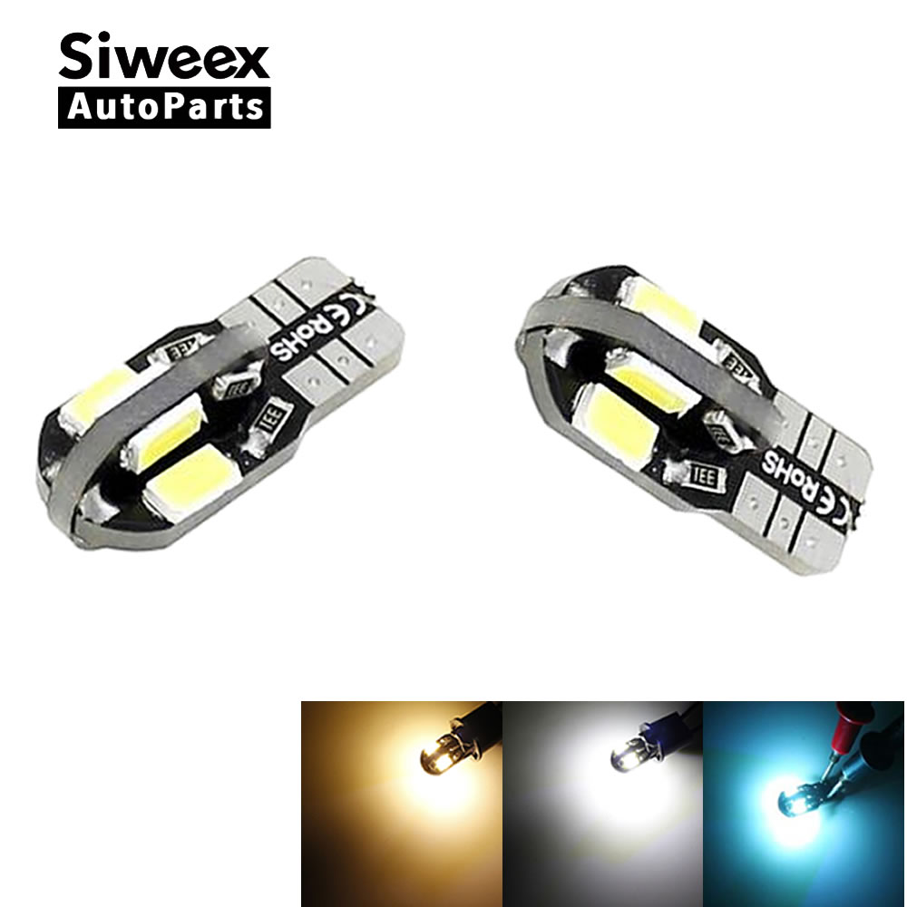 2 X Canbus Error Free T10 White Warm White Iceblue 8 5730 SMD LED Car Side Wedge Light Lamp W5W Bulb 12V Instrument Panel Lamp t10 2 5w 250lm 560 590nm smd 5050 13 leds yellow led car instrument light door lamp trunk lamp dc 12v