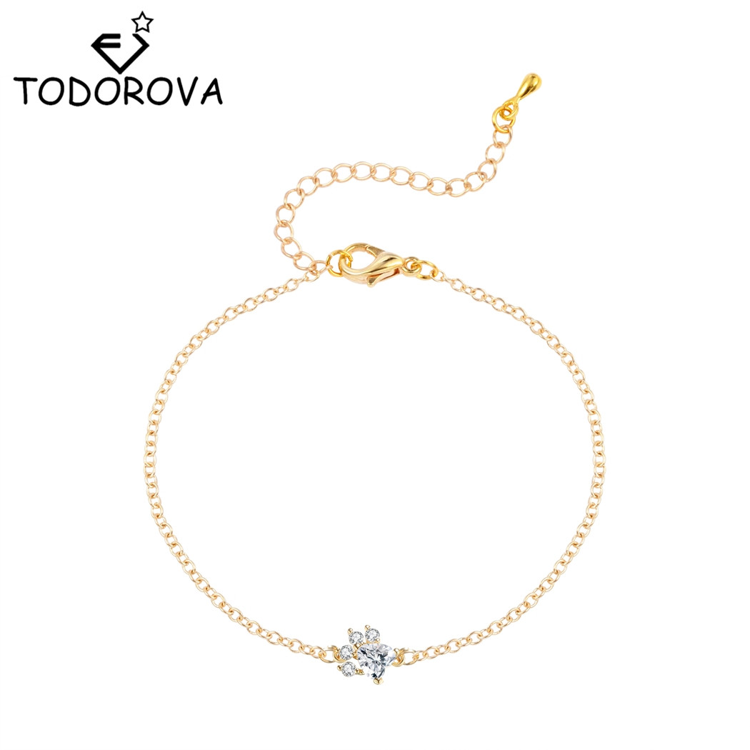 Us 1 19 40 Off Todorova Crystal Cat Dog Paw Print Bracelet Cute Animal Jewelry Charm Bracelets For Women Lovely Female Accessories In Chain Link