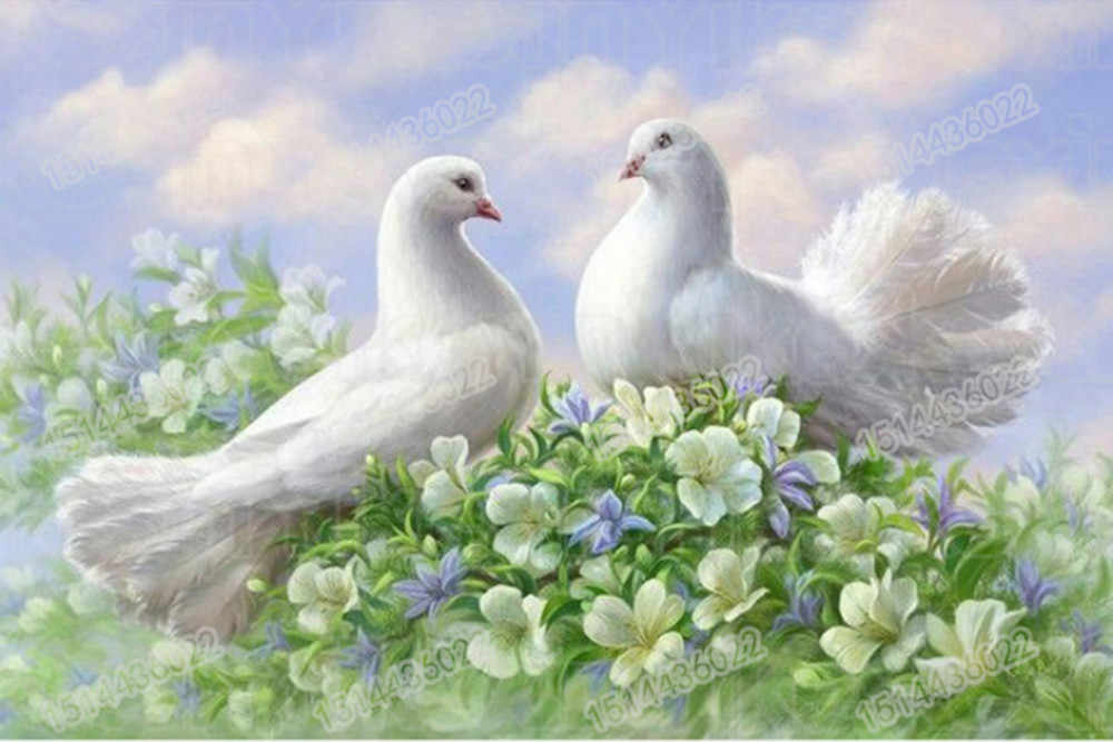 """5D DIY full round  Diamond Painting """" Beautiful Two white pigeons  """" Embroidery Cross Stitch   Mosaic  Home Decor  gift"""