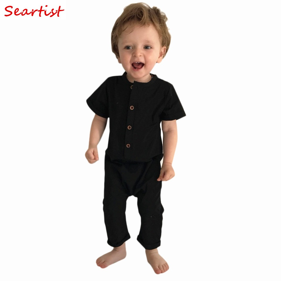 Seartist Baby Boys Summer Romper Novorozeně Plain Pajamas Batoľa Krátký rukáv Jumpsuit Black Playsuits for Newborns 2019 New C33