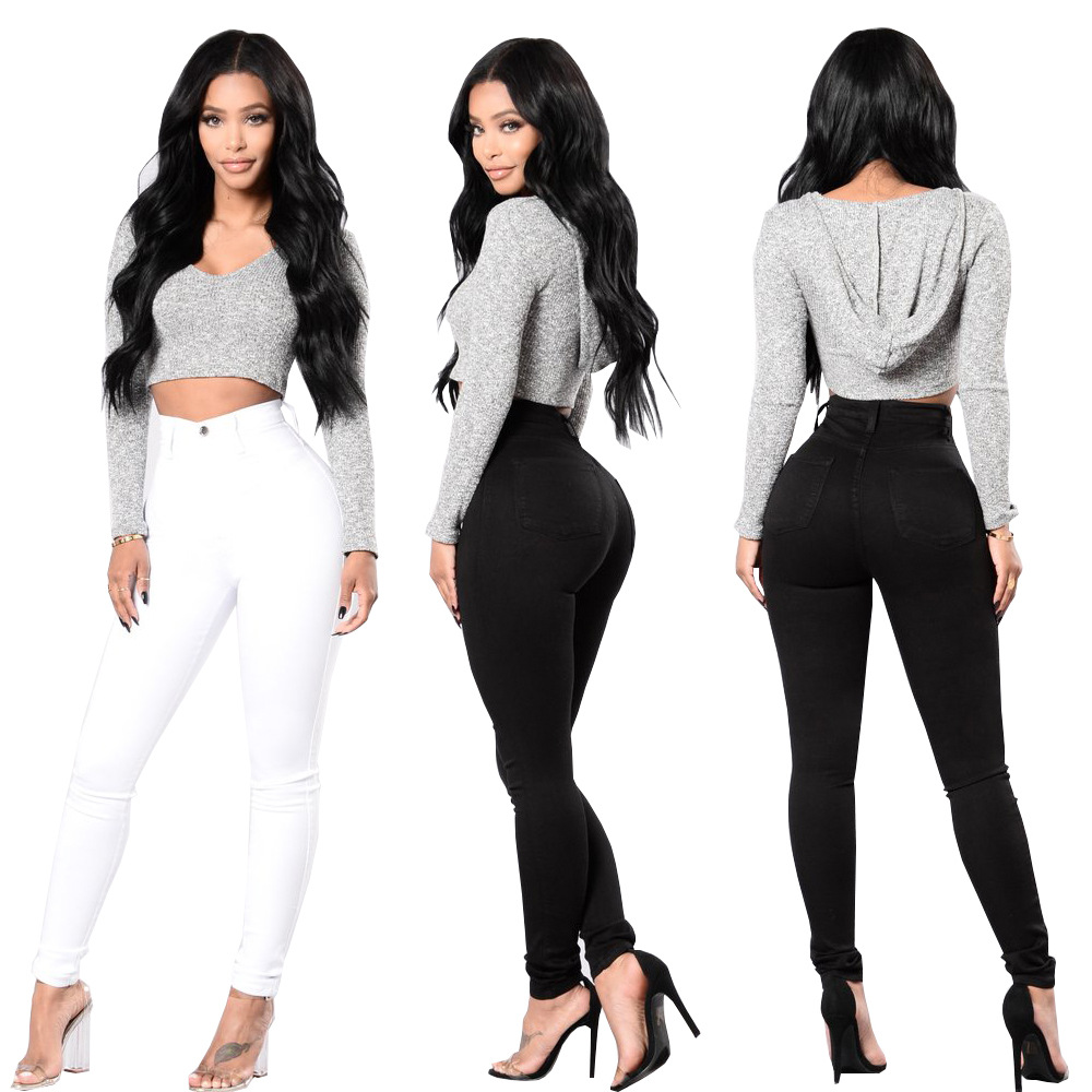 High Waist Jeans Slim Jeans For Women Skinny High Waist Black White Jeans Woman Casual Stretch Waist Pencil Pants Plus Size