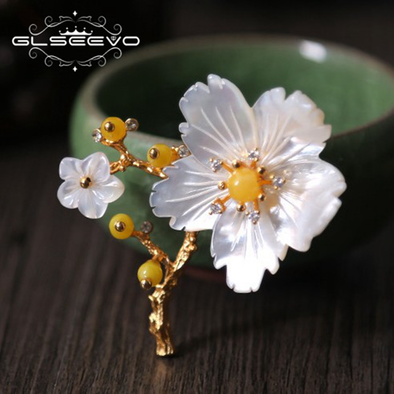 GLSEEVO Natural Mother Of Pearl Flower Brooch Beeswax Brooches For Women Gifts Dual Use Fine Designer