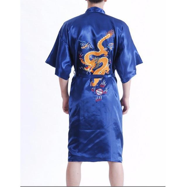 New Arrival Navy Blue Male Silk Robe Chinese Classic Embroidery Nightwear Traditional  Kimono Gown Size S M L XL XXL XXXL 011017 b506b51ec