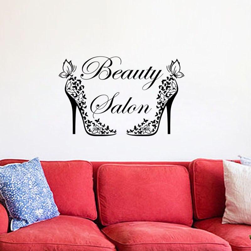 EHOME Butterflies High Heel Wall Stickers Creativity DIY Beauty Salon Decorations For Walls Glass Door Sticker