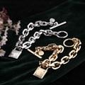 European fashion jewelry lock charm chain bracelet silver/golden chain bracelet-Free Shipping