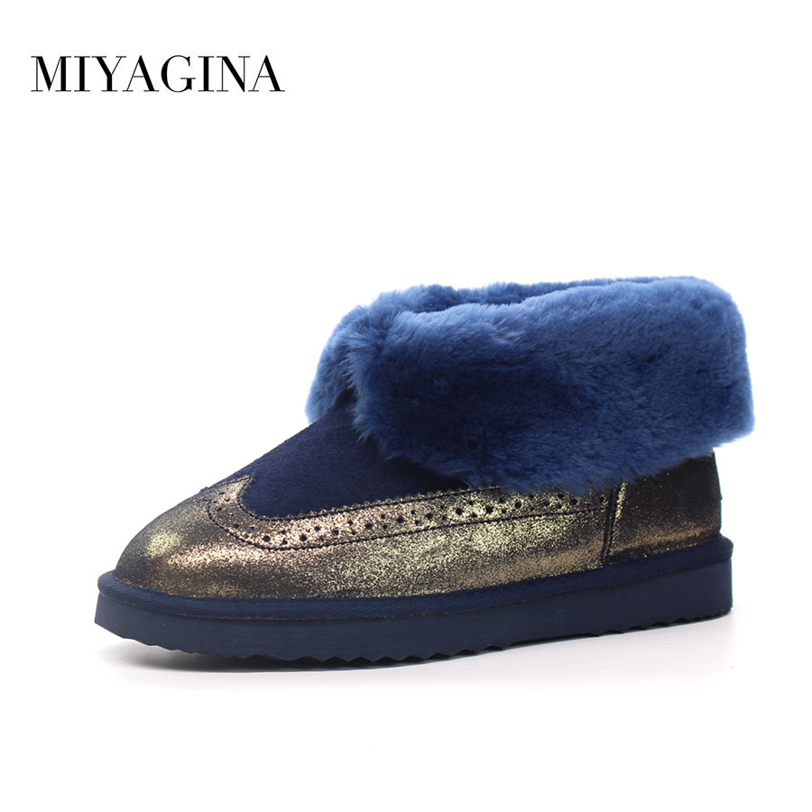 Top Quality New Fashion 100% Genuine Cowhide Leather Snow Boots Natural Fur Waterpoof Mujer Botas Winter Warm Women Ankle Shoes sexemara brand 2016 new collection winter boots for women snow boots genuine leather ankle boots top quality plush botas mujer