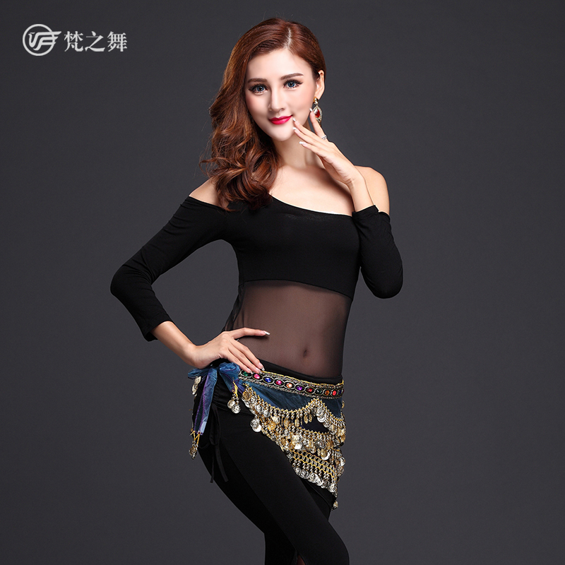 High quality modal arab belly dance costumes for women with organza hip scarf laser virtual keyboard