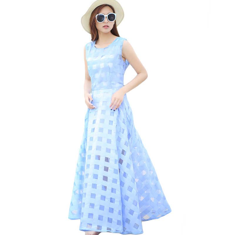 f0e52ef2e68 Длинное платье Для женщин 2018 Летняя мода рукавов бальное платье пляжный  отдых Винтаж органза Сарафан платье