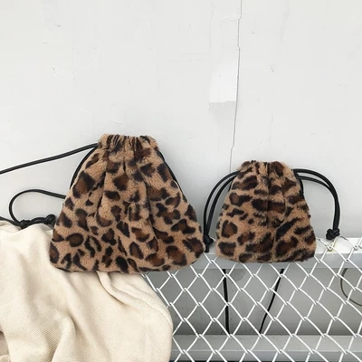 2019 Winter Drawstring Bucket Bag Fashion Designer Handbag Leopard Faux Fur Shoulder Bag Little Cute Mini Bags For Women Girls