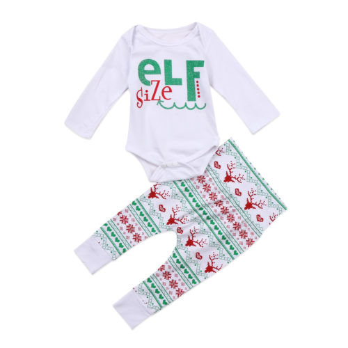 Christmas Newborn Baby Boys Girls Clothes Set Xmas Cotton Long Sleeve Bodysuit Tops Pattern Leggings Long Pants Outfits Sets halloween newborn baby girls hot clothing set fashion new letter long sleeve bodysuit tops mesh orange bow skirt outfits sets