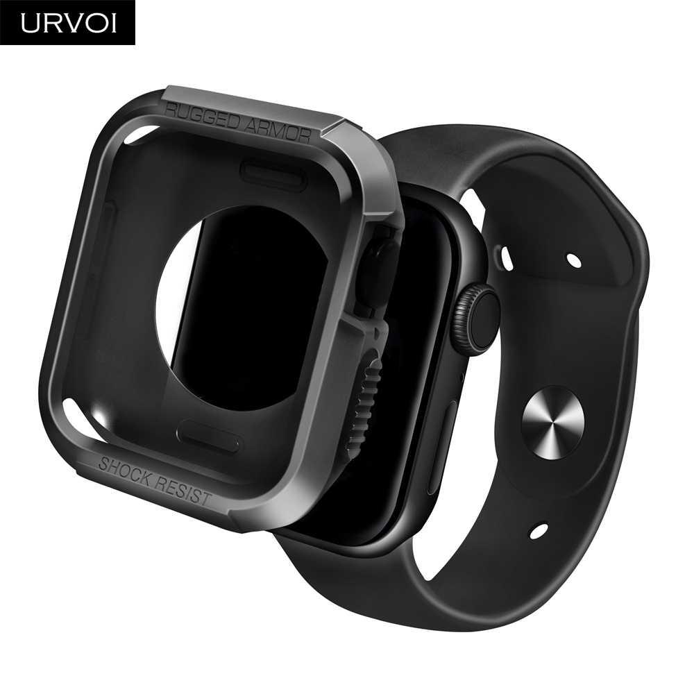 URVOI מלא TPU כיסוי עבור אפל שעון סדרת 4 5 מקרה קשה שריון קשיח פגוש מגן עבור iWatch הלם להתנגד מסגרת 40 44mm