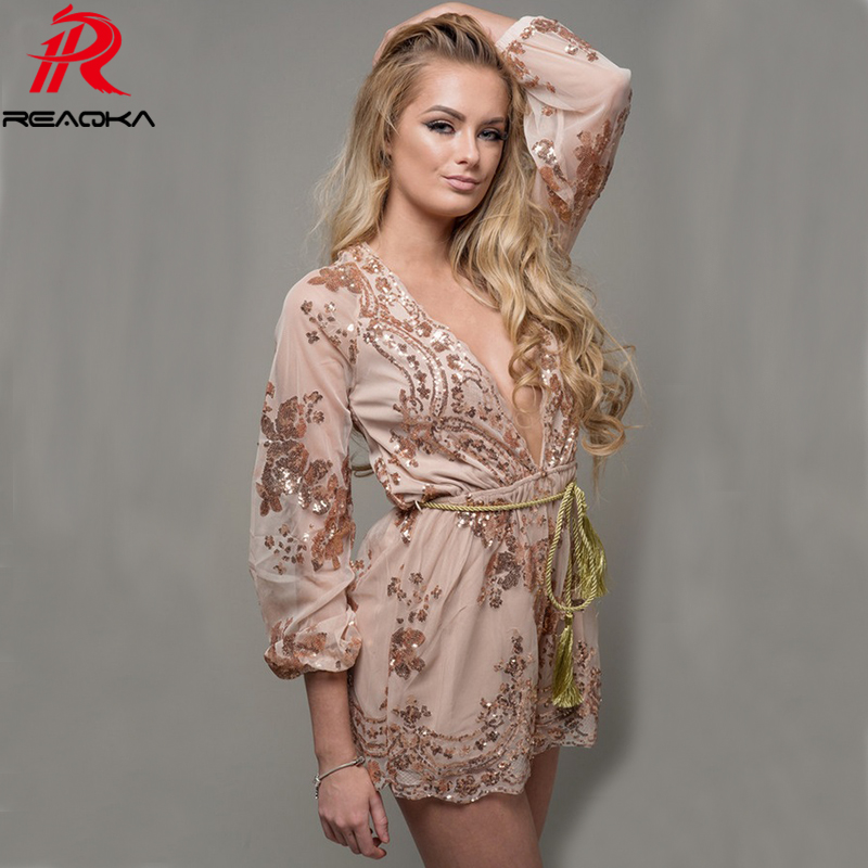 Summer Sexy V Neck Mesh Long Sleeve Sequins Bodysuit Women Jumpsuit Gold Black Rompers Luxury Nightclub Party Playsuit Overalls