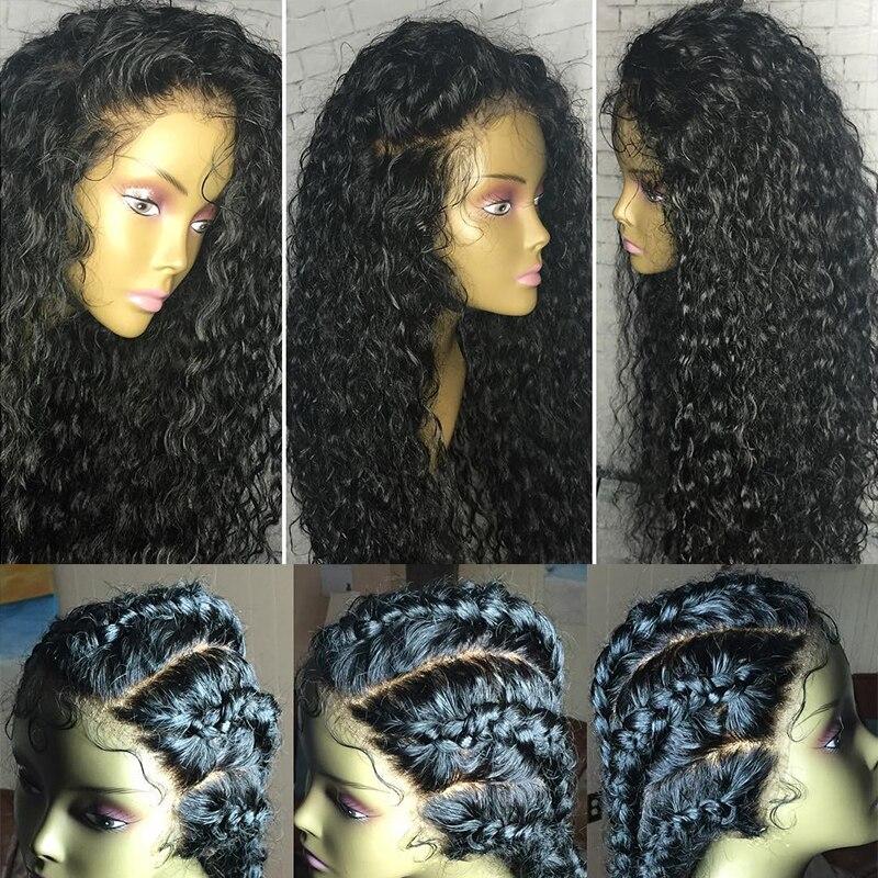13x6 Lace Front Paryk För Kvinnor Curly Mänskliga Parykker 250% - Mänskligt hår (svart) - Foto 4