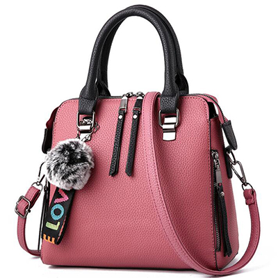 PU Leather Women Messenger Bag Fur Ball Crossbody Flap Bag Female  Shoulder Bag Solid Color Handbags