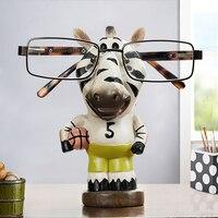 Twórczy figurki zwierząt okulary uchwyt żywica handmade szef/zebra/słoń/żyrafa rzeźby ozdoby