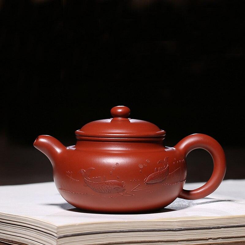 200 мл Исин Аутентичные Фиолетовый Глина чайник знаменитый Скульптура рыбок ча хай сырой руды здоровья Dahongpao грязи Zisha горшок чайники