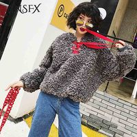 ANSFX Winter Faux Fur Sweatshirts Jacket Furry Fake Fur Coat Cross Tied Bow Red Collar Pullover