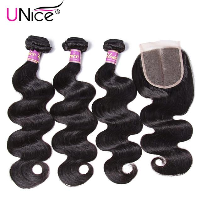 """Unice Cheveux Faisceaux Avec Fermeture 4 PCS Péruvienne Vague de Corps de Cheveux Humains Tissage de Cheveux Suisse Dentelle Fermeture Moyen Partie 8-30 """"Remy Cheveux"""