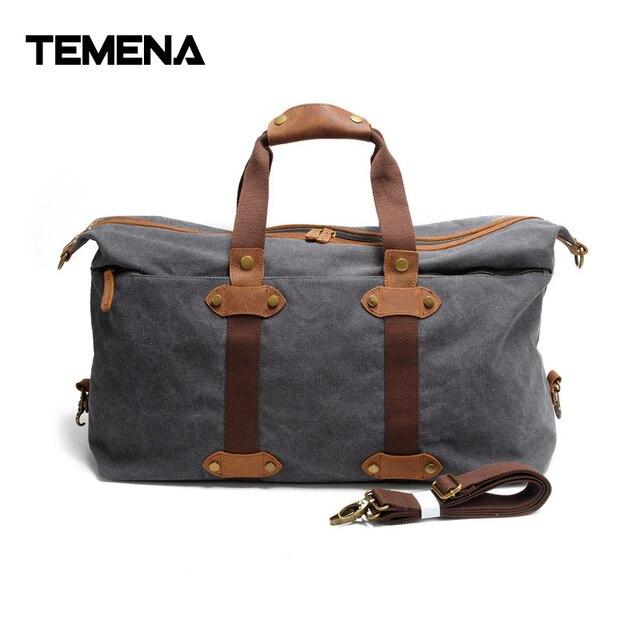 Temena Vintage Large Capacity Canvas Duffle Bag Men Women Duffel Shoulder For Travel Handbags Tote