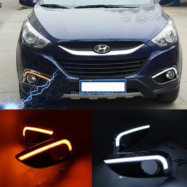 Beautiful For 2010 2013 Tucson Fuel Cell Hyundai IX35 Amber / White Switchback LED  DRL Daytime