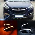 Para 2010-2013 Hyundai IX35 Tucson Célula De Combustível Âmbar/Branco Switchback LEVOU DRL Luz de Circulação Diurna w/Turn Signal característica