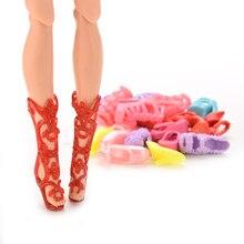 Каблуках барби прекрасные пар туфли = сандалии куклы случайный аксессуары цвет