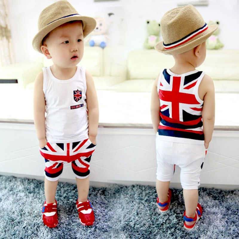 Kids Clothes Boys Summer Clothing Baby Boys Cotton Sleeveless Tops+Pants  Set Children Costume With Union Flag Print Suits 33faffc3a