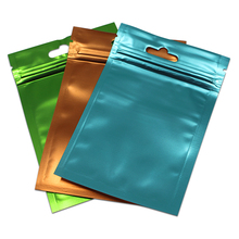 300 Cái/lốc Nhựa Trong Túi Mờ Nhiều Màu Sắc Viền Nhôm Túi Ziplock Gói Túi Trang Sức Thủ Công Quà Tặng Mylar Túi Hàng Lỗ