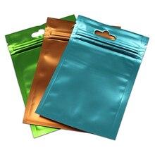 300 Stks/partij Clear Plastic Pocket Matte Kleurrijke Aluminiumfolie Zak Ziplock Pakket Tassen Sieraden Ambachtelijke Geschenken Mylar Zakje Hang Hole