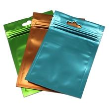 300 sztuk/partia jasne plastikowe poręczne matowe kolorowe worek z folii aluminiowej Ziplock torby ręcznie robiona biżuteria prezenty Mylar etui Hang Hole