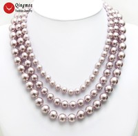 Qingmos Purple Sea Shell Pearl Necklace for Women with 8 12mm Round Sea Shell Pearl 3 Strands 17'' Chokers Necklace Silver Clasp