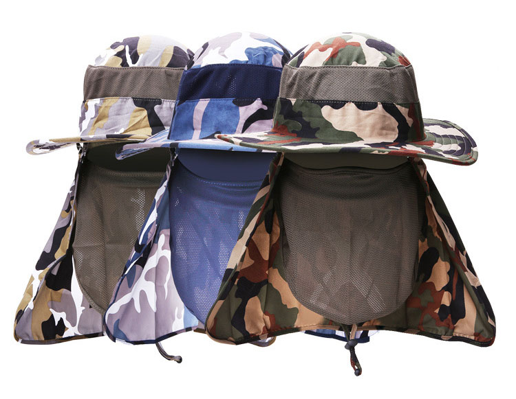 [AETRENDS] 17 New Detachable Camouflage Bucket Hat Neck Protection Summer Cap Windproof Anti-mosquito Fishing Hats Z-5160 2