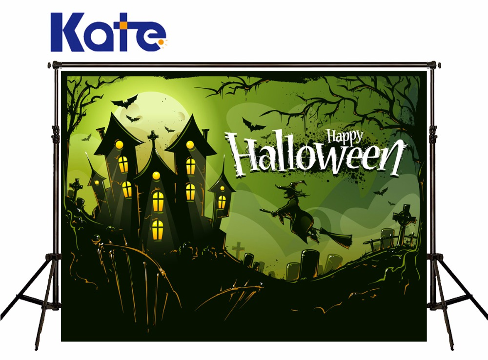 Kate Green Screen Halloween Photo Backdrops Castle Witch Bat Backgrounds Photography Night Terror for Children Photo Studio spring background photography for kids photos green screen photography backdrops children photo props custom made backgrounds