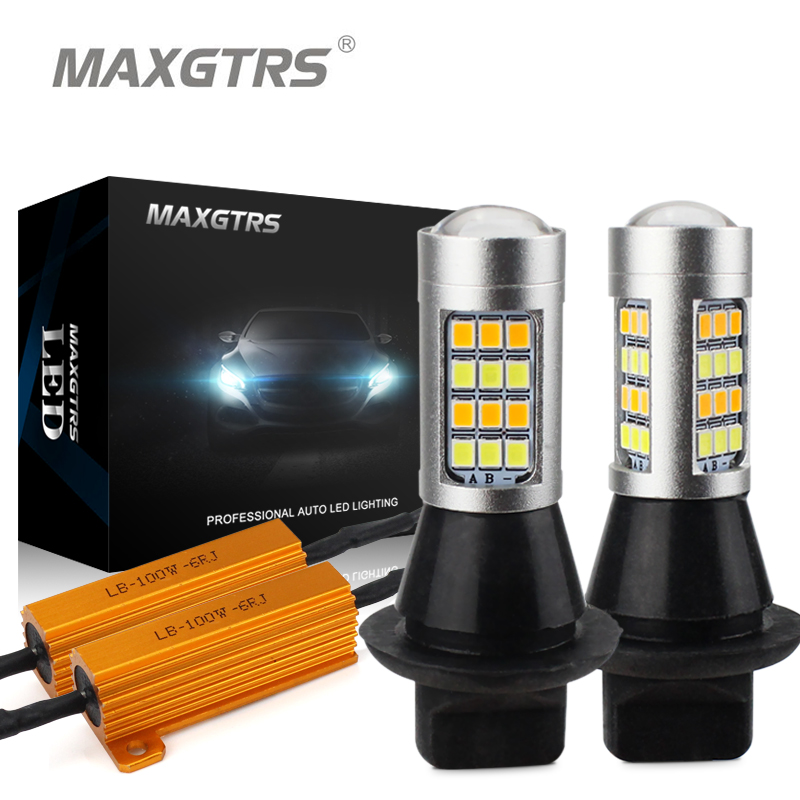 2x Dual Color 42SMD 2835 White/Ice Blue & Amber S25 1156 BA15S LED Bulbs For Front Turning Lights Signal DRL Error Free Canbus