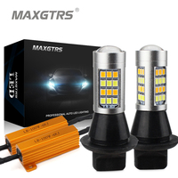 2x Dual Color 42SMD 5730 White Ice Blue Amber S25 1156 BA15S LED Bulbs For Front