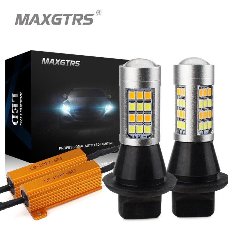 2x Dual Farbe 42SMD 2835 S25 1156 BA15S P21W Led-lampen Vorne Drehen Lichter Signal DRL Fehler Kostenlose Canbus Weiß /Ice Blue & Bernstein