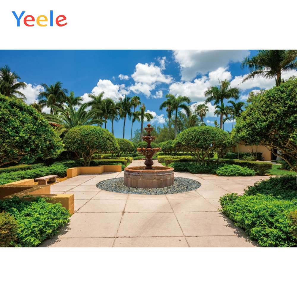 Yeele Landscape Photocall Garden Summer Fountain Photography Backdrops Personalized Photographic Backgrounds For Photo Studio