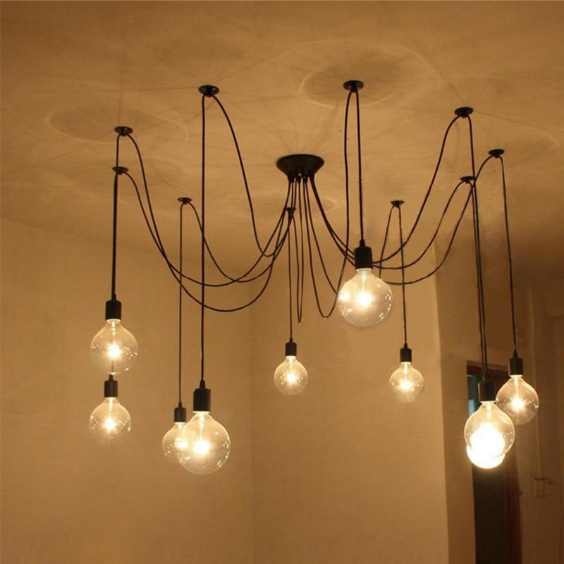 Nordic Retro Spider Chandelier Lamp star shape light bulb Pendant ...