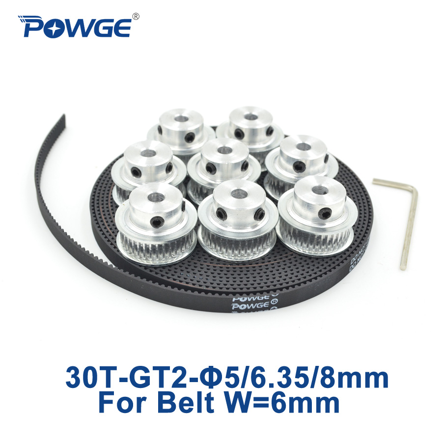 POWGE 8pcs 30 teeth GT2 Timing Pulley Bore 5mm 6.35mm 8mm + 5Meters width 6mm GT2 synchronous Belt 2GT pulley Belt 30Teeth 30T купить в Москве 2019