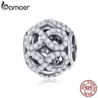 BAMOER Authentic 925 Sterling Silver Stackable Infinity Element Love Forever Charm Beads Fit Bracelet Necklace Jewelry