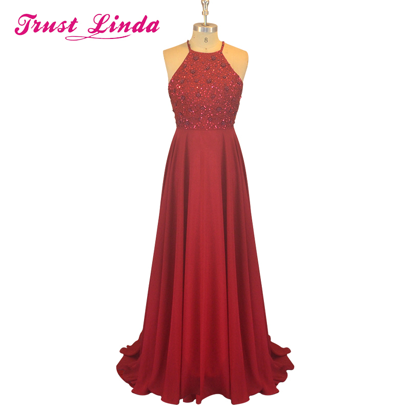 Long Pretty Halter Purple Keyhole Back Beading long   Bridesmaid     Dresses   Vestido De Festa Girls Party Gowns Burgundy Prom   Dress