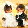 2PCS/Lot 20CM Kawaii Monkiki Plush Doll Couple of Wedding Dress His-and-hers Dolls Monchichi Stuffed Animal Dolls Soft Toys Kids