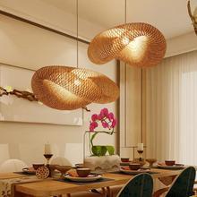 Lámpara colgante de mimbre de bambú con forma de ola, lámpara colgante vintage rústico japonesa, lámpara colgante de mesa de comedor para uso en interiores