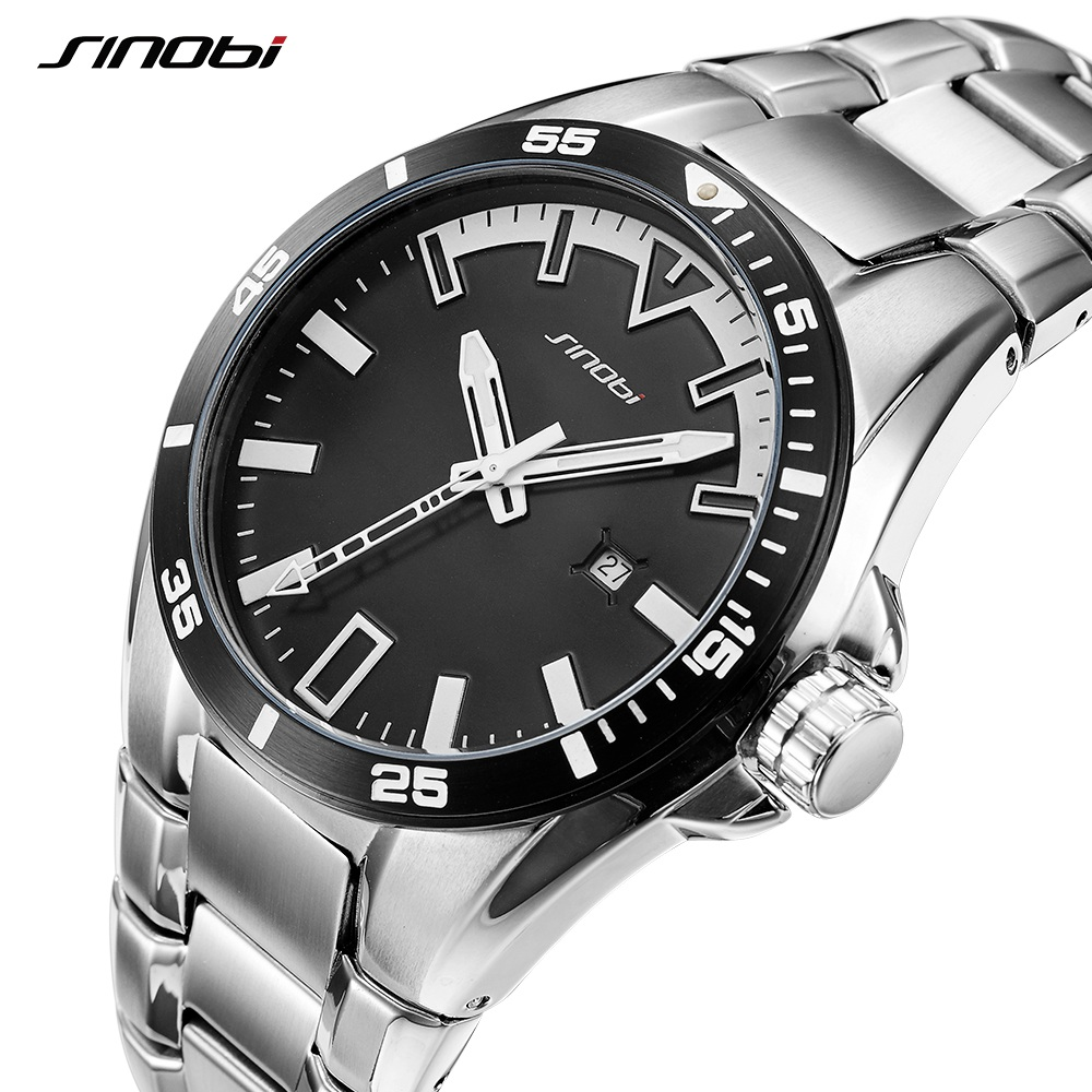 SINOBI Business Watch Men 2018 Full Steel Male Fashoin Wrist Watches  Luminous Hands Relogio Masculino Geneva Waterproof Saat sinobi original vogue new design wrist watches for men dress office waterproof men watch travel factory directly sale relojes