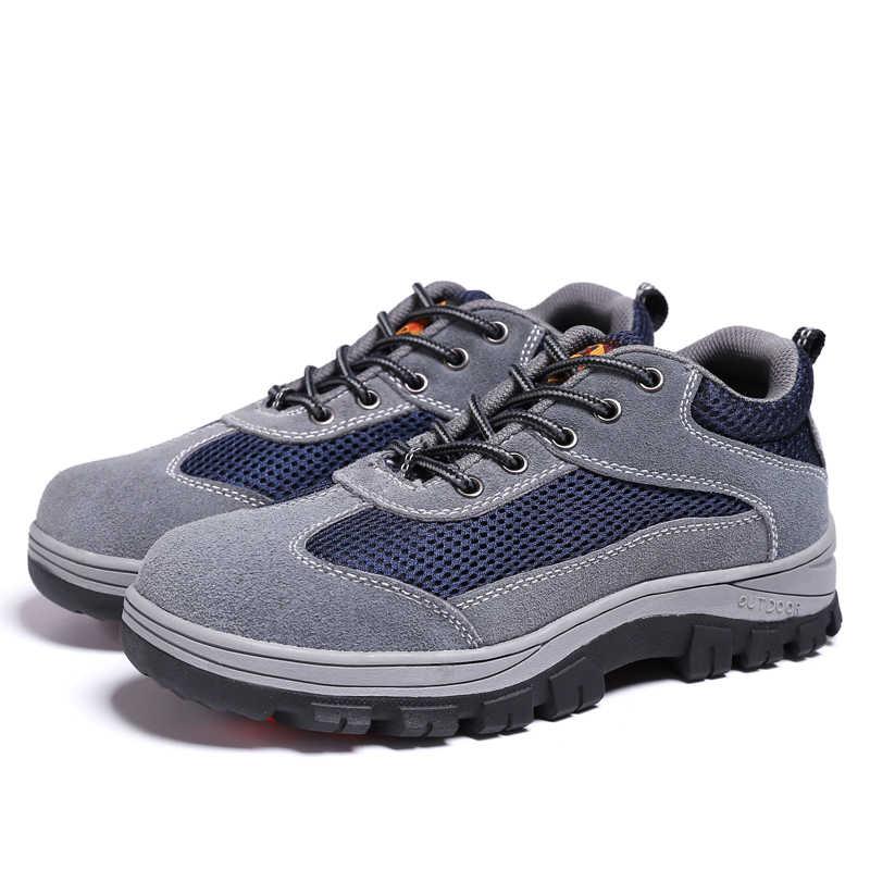 Artı boyutu erkekler eğlence rahat çelik burun iş güvenliği ayakkabıları yumuşak deri anti-pierce platformu güvenlik botları koruma