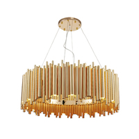 Creative Post modern Round LED Chandelier Light luxurious Dia.80cm gold aluminum tube Toolery 16pcs G9 led lamp 3W warm white