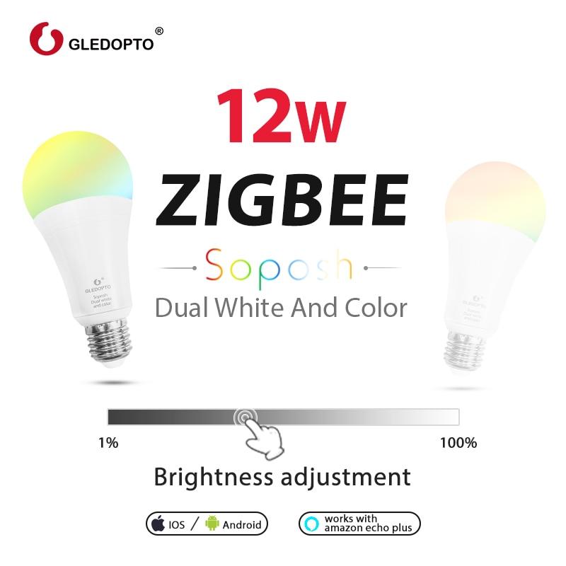 ZIGBEE 3.0 ZLL LED 12 W RGB + CCT ampoule AC100-240V rgb et double blanc e27 e26 variateur LED ampoule dimmable lampe RGBW/RGBWW travail alexa - 6