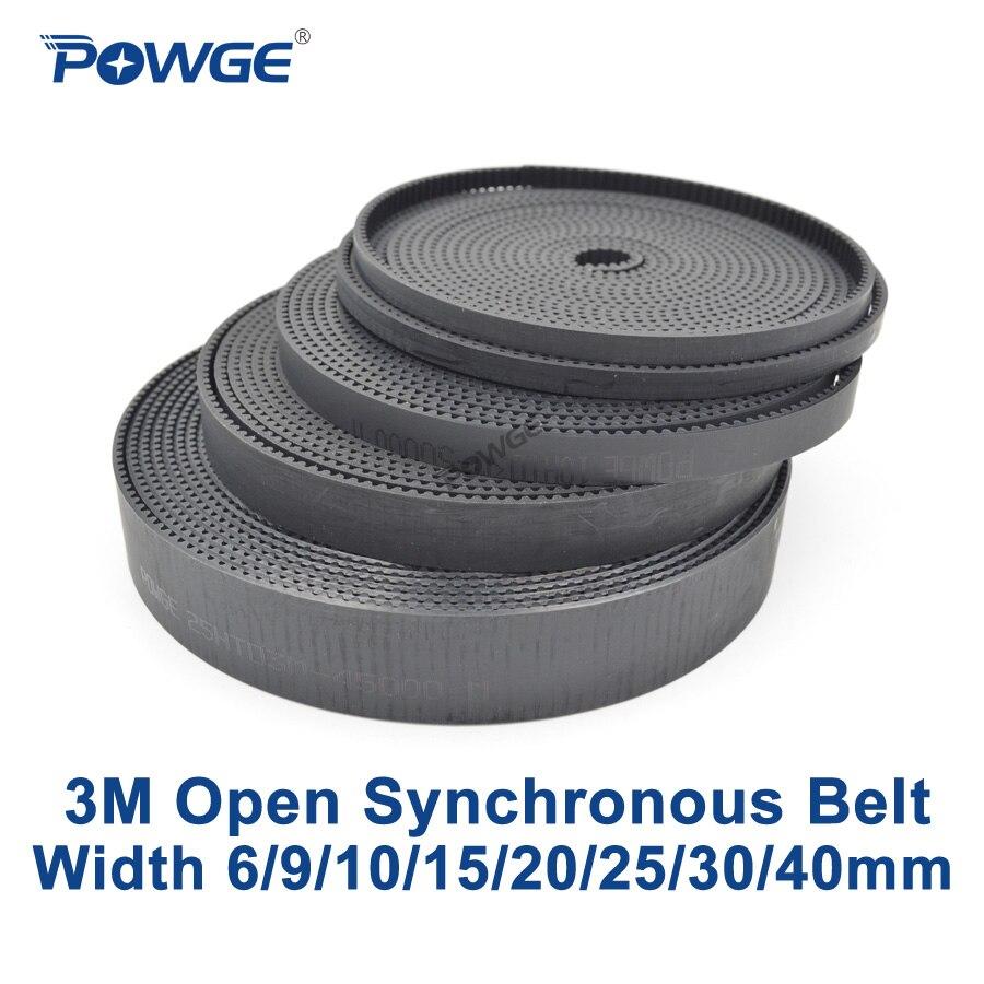 POWGE Arc HTD 3M Open Synchronous belt Width 6/9/10/15/20/25/30/40mm 3M 15mm Polyurethane steel PU Black HTD3M timing belt CNC|belt cnc|timing belt cnc|htd 3m - title=