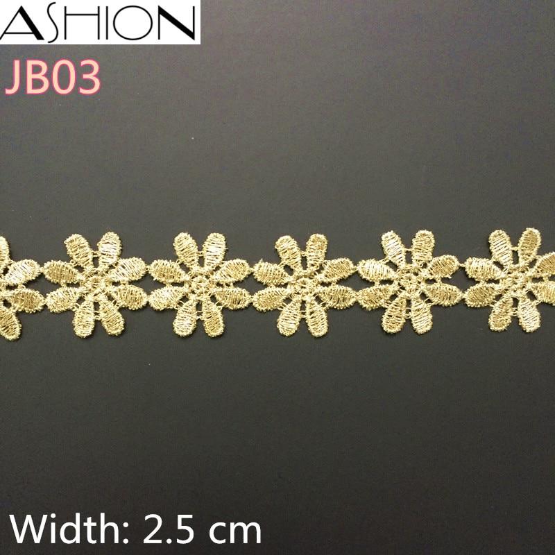 3 jarde Širina 25 mm zlata roža Čipke obloge Tkanina za dodatke oblačil, Šivalni rob Trim Poroka Čipka JB03