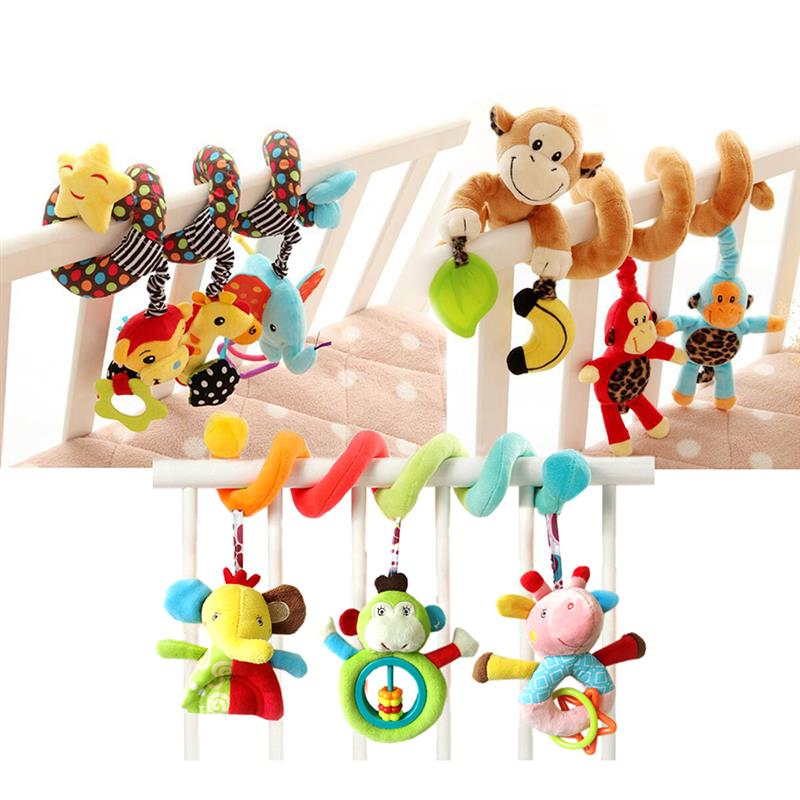 New Children toys Baby Car Seat Crib Cot Pram Hanging Rattles Spiral Wrap Around Crib Stroller Bed Accessories Attention Attract
